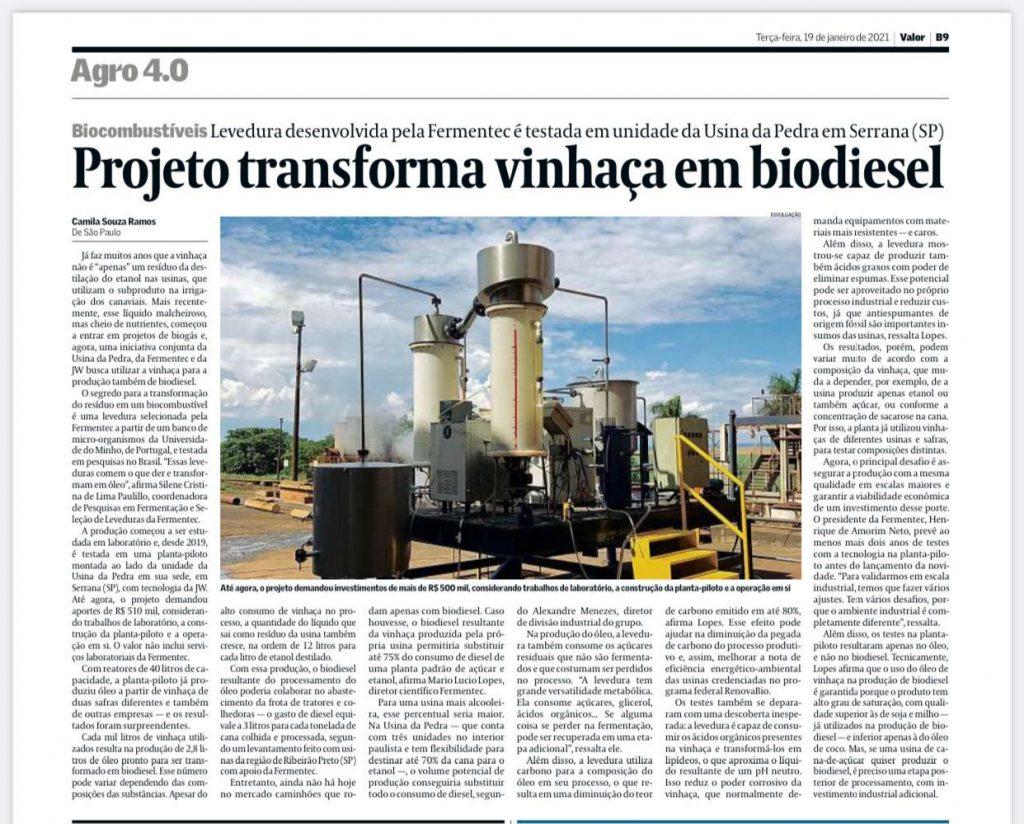 Matéria do jornal O Estado de S. Paulo sobre a transformação de vinhaça em biodiesel com tecnologia da Fermentec